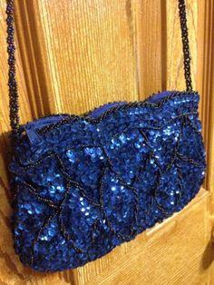 La Regale Vintage Beaded Purse Handmade In China Unique Deep Blue Sequin Sparkly