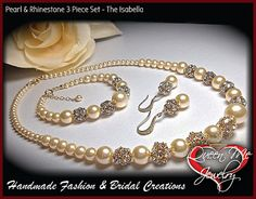 Pearl Set // Gold // Pearl and Rhinestone by QueenMeJewelryLLC