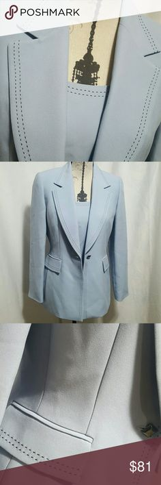 NWOT TAHARI suit blouse & blazer Very high quality blouse with impressive stitching zip side closure with incredible blue (2nd picture is more like the true color) trimmed in navy blue stitching blazer, one button closure, 52% polyester 44% Acetate, lining 100% polyester.  Dry clean only.    Please ask any and all questions before purchasing this item Tahari Jackets & Coats Blazers