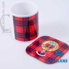 Hamilton Tartan Mug and Clan Crest Coaster Set. Free Worldwide Shipping Available
