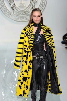 fur coat by versace animal print