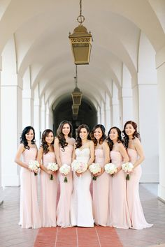 Blush beauties: http://www.stylemepretty.com/little-black-book-blog/2014/11/28/vintage-elegance-at-the-taglyan-complex/ | Photography: Mimi Nguyen - http://miminguyen.com/