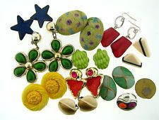 Vintage Assorted Fun Funky Lucite Mix Material Clip On Earrings Lot Collection