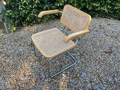 RATTAN/CHROME TUBULAR CHAIR. Condition is Used. Collection in person only.