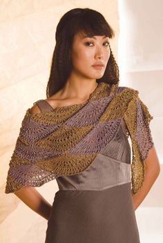 Swing Shawl worked in two contrasting shades, shell stitch pattern - free knit pattern | Berroco