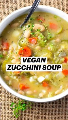 Best Soup Recipes, Whole Food Recipes, Vegetarian Recipes, Cooking Recipes, Recipes Dinner, Creamy Zucchini Soup, Vegan Zucchini, Vegan Soups, Vegan Dishes