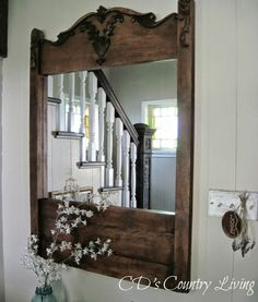 CD's Country Living: A Restoration Hardware Inspired Mirror! French Desk, Diy Furniture Redo, Family Wall, Vintage Chairs, How To Make Light, Cozy House, Restoration Hardware, Country Living, Home Furnishings