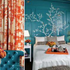 Blue + orange bedroom colors