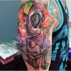 Robot work by Jose Mota Ortega. #inked #inkedmag #tattoo #gorgeous #art #colorful #unique #creative