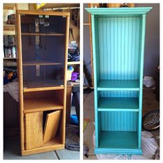 Entertainment Center Tower Redo.... put on side with long center board to make shelving unit for boys' room