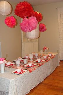 Valentine Dinner with lanterns and vintage fabric.