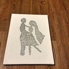 Obraz vytvořený z textu písně, na kterou novomanželé tančili svůj první tanec. Úžasný dárek na svatbu.