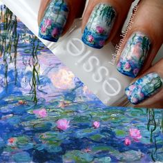 FA: I finally tried to to a waterlilies nail art, inspired by Claude Monet (I've been wanting to do that for two years - always being afraid...
