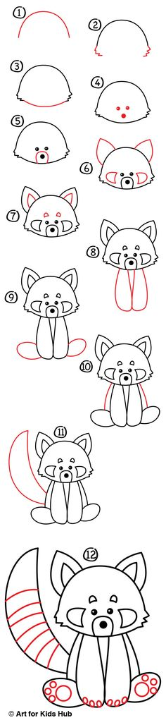 Follow along with us and learn how to draw a red panda...the cutest animal on this planet! All you need is a marker, paper and something to color with.