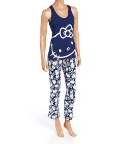 Another great find on #zulily! Navy & White Hello Kitty Pajama Set - Women by Hello Kitty #zulilyfinds