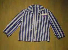 Jehovah's Witness Prison Jacket  Striped prison jacket with an inverted purple triangle badge worn by Matthaeus Pibal, a Jehovah's Witness, during his imprisonment at the Dachau concentration camp. The purple triangle badge was used to identify the prisoner as a Jehovah's Witness. Matthaeus Pibal was arrested as a Jehovah's Witness by the Gestapo in 1940 and sent to Dachau. He remained in the concentration camp until the liberation in 1945.