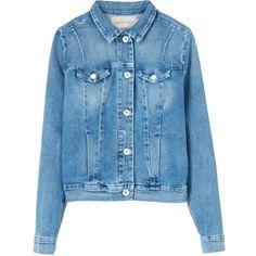 Calvin Klein Ramona Denim Jacket ($100) ❤ liked on Polyvore featuring outerwear, jackets, blue, denim jacket, blue jackets, western denim jacket, light weight denim jacket and lightweight denim jacket