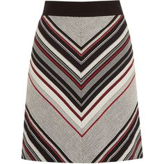 Warehouse Stripe Tweed Pelmet Skirt (£39) ❤ liked on Polyvore featuring skirts, bottoms, red, tweed a line skirt, striped skirt, tweed skirt, white knee length skirt and a line skirt