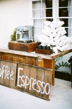 #Espresso Bar | See the wedding on SMP - http://www.StyleMePretty.com/2014/01/08/rustic-chic-calabasas-wedding-at-tapia-park/ Nancy Neil Photography