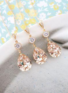 Swarovski Light Silk Teardrop Crystal Necklace Set, Bridesmaid, Bridal Wedding Jewelry, Cubic Zirconia earrings, wwwglitzandlove.com