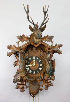 antique black forest carved wood cuckoo clock