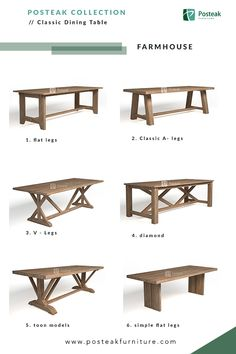 Farmhouse dining table collection, made from solid wood. Wide-range models which suitable for indoor or even outdoor space. Discover more at posteakfurniture.com #diningroom #diningtable #table #tablecollection #furniture#solidwood #teakwood #indonesiafurniture #indoorfurniture #outdoorfurniture #modernfurniture #furniturespecialist
