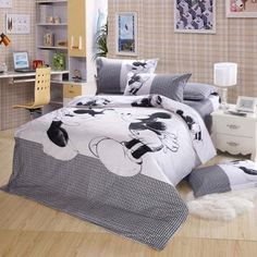 Twin Duvet Covers Comforter Sets 4Pc Cute White Grey Mickey Mouse Bed Linens Bed Sets