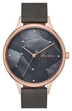 Free shipping and returns on Skagen 'Anita - Starry Night' Round Watch, 34mm at Nordstrom.com. A mosaic of crystals adds celestial sparkle to the steely three-hand dial of an exquisite watch set in a polished round case. This style is available with either a mesh or textured leather strap.