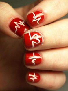 Heartbeats nail art design http://renewed-style.com/spread-love-red-valentines-day-nail-art-designs/