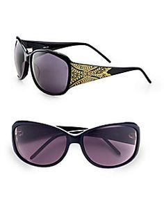 Givenchy - Swarvoski Crystal Accented Wrap Sunglasses