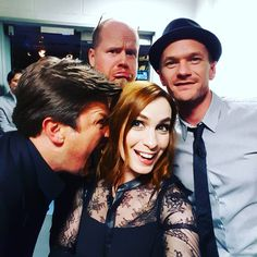 """""""Dr Horrible Reunion timezzzzz!"""" Felicia Day, Nathan Fillion, Neil Patrick Harris and Joss Whedon at the Dr. Horrible reunion panel at NYCC on October 10, 2015"""