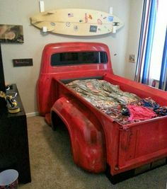 Child's boys room bed made from repurposed salvaged old truck bed; Upcycle, Recycle, Salvage, diy, thrift, flea, repurpose, refashion!  For vintage ideas and goods shop at Estate ReSale & ReDesign, Bonita Springs, FL