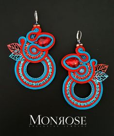 """Redblue"" earrings by Monrose Jewelry - soutache, crystals, unidentified metal (likely goldplated base metal) Bridal Jewelry, Beaded Jewelry, Jewellery, Soutache Necklace, Earrings, Polymer Clay Charms, Fabric Jewelry, Plastic Canvas Patterns, Beaded Embroidery"