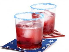 Use poprocks as a fun colored and surprising drink rim! Perfect cocktail for 4th of July