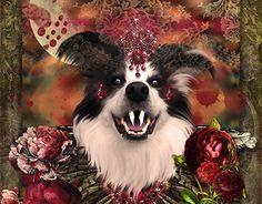 """Anthropomorphic rendition of my puppo Bella as """"Nosferbella"""", a Vampire Queen. Vampire Queen, Halloween 2017, New Work, Behance, Gallery, Check, Animals, Animales, Roof Rack"""