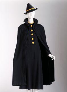 Daytime ensemble (dress, dicky, belt, cape, hat), 1937 Wool Jeanne Lanvin, French, 1867-1946 1971.c.155.A-D