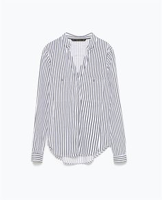 Image 8 of STRIPED LOW-CUT SHIRT WITH GOLD BUTTONS from Zara