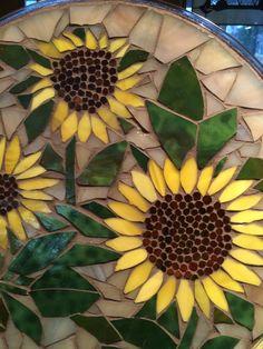 Placa mosaico vidrieraverano girasoles