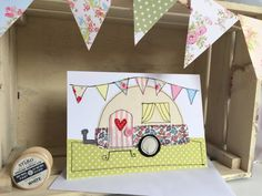 Handmade caravan greetings card, present card, birthday card, blank card, embroidered card, sewn card, applique, hand-stitched, fabric card