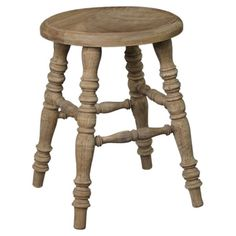 Showcasing a teak wood frame and rustic finish, this lovely stool is perfect pulled up to your vanity or as impromptu guest seating in the den.