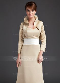 Long Sleeve Satin Special Occasion Wrap (013004362) - JJsHouse