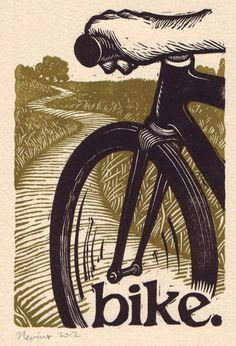 bike A linocut print on Arches cream paper by peternevins Linocut Prints, Art Prints, Block Prints, Linoleum Block Printing, Bike Illustration, Linoprint, Vintage Poster, Bicycle Art, Cycling Art