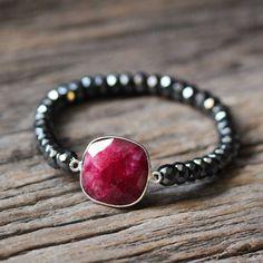 Ruby Hematite Stacking Bracelet / Beaded Bracelet / Red July Birthstone, Crimson Metallic Boho Jewelry, Grey Gemstone Statement Beadwork by byjodi on Etsy https://www.etsy.com/listing/214895649/ruby-hematite-stacking-bracelet-beaded