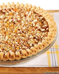 In a twist on tradition, smooth pumpkin pie is topped with a crunchy ...