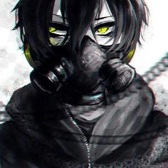 Anime boy with black hair, green eyes and gas mask