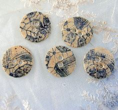 NEW - Cobalt Lace -  5 buttons - Printed with vintage lace  -