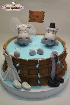 tarta de boda de hipopótamos