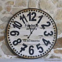 Grande horloge murale industrielle d 73 5 cm mur d for Deco cuisine horloge