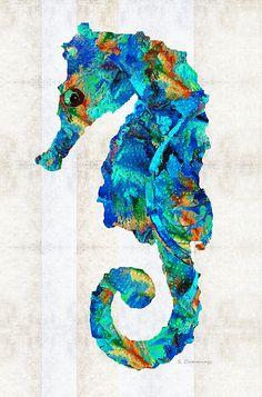 Blue Seahorse Art By Sharon Cummings by Sharon Cummings #seahorse #beach