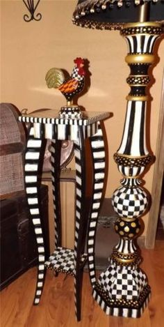 """Black White Check 36"""" Tall Plant Stand Table Hand Painted by Mackenzie Kid"""